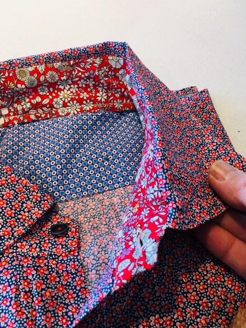 Détail intérieur col Chemise Homme Liberty Maison de la couture Grenoble