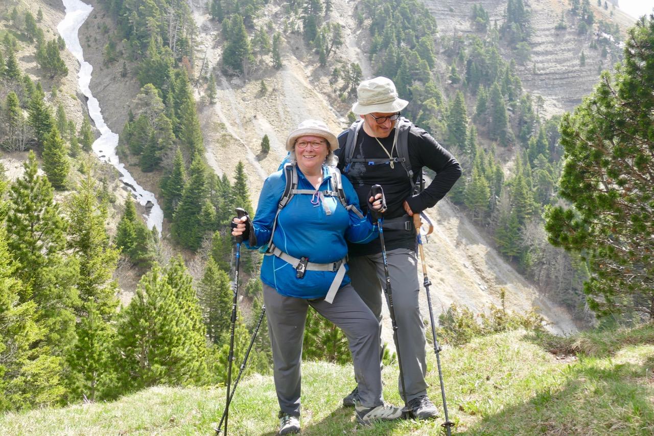 Patricia en randonnée avec son époux